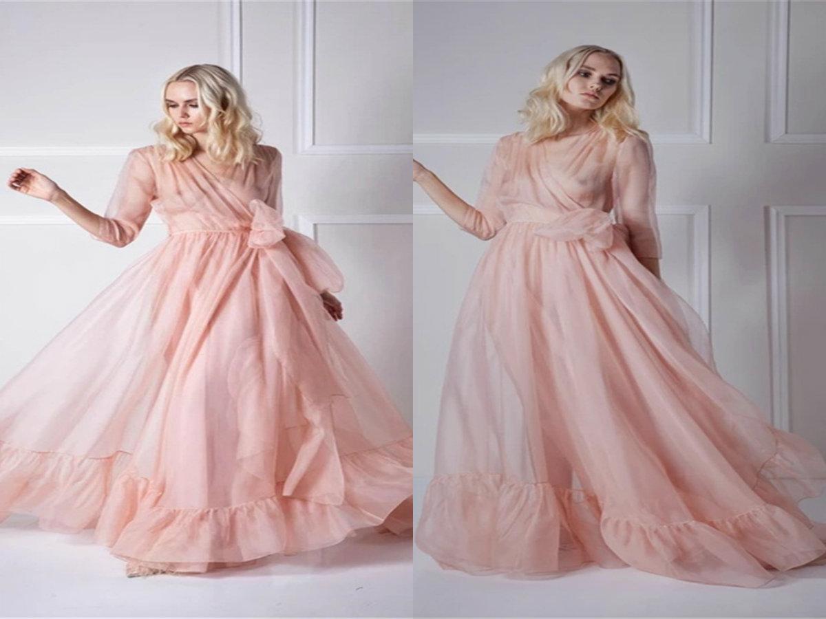 Robas rosadas de la boda con cuello en v mangas largas de gasa fruncida vestido de noche de la gasa para las mujeres simple barato barato tren pijamas housewear elegant