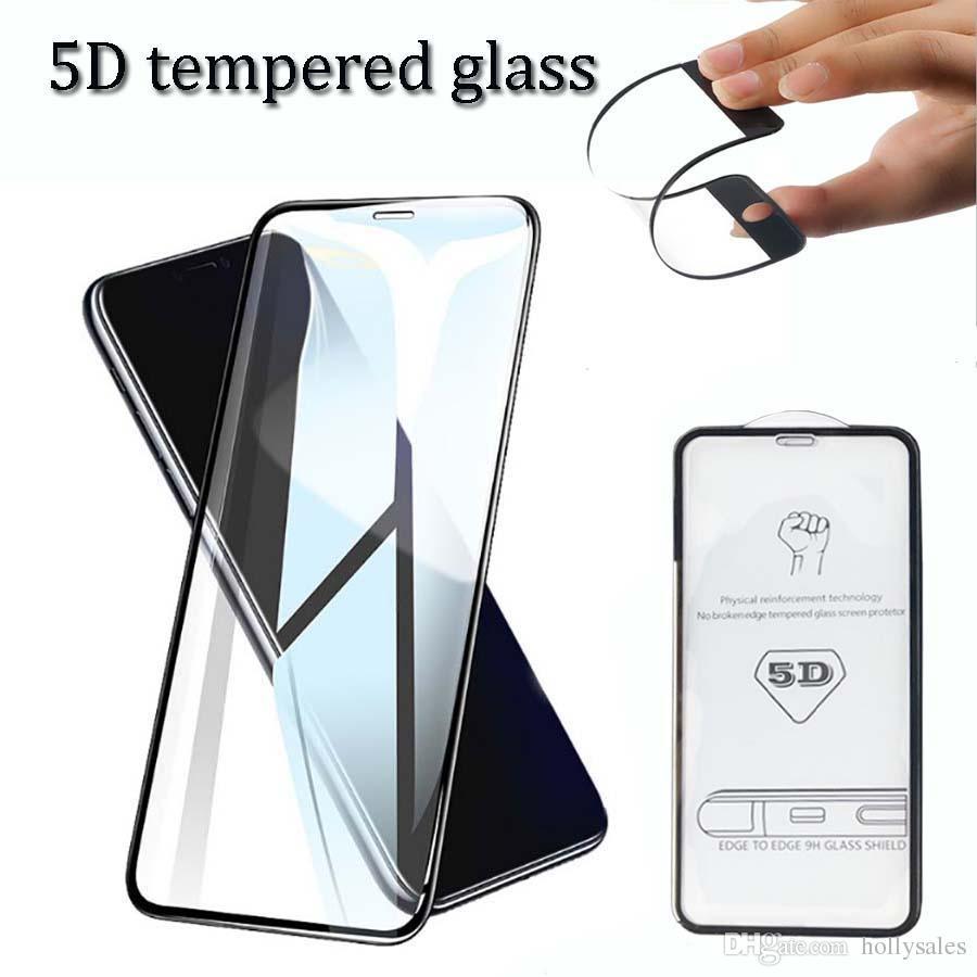 5D 9H gehärtetes Glas Schutzvoll Kleber gehärtetes Glas Filmschirmschutz für iphone 11 xr max huawei p20 p30 pro xs