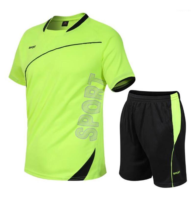 Короткий рукав O шеи 2 шт. мужские костюмы тонкий активный мужской наборы летние спортивные мужские спортивные костюмы быстрая сушка