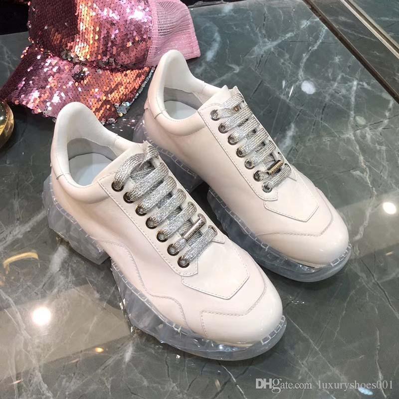Повседневная обувь папа Sneaker Париж Мода женщин обуви Платформа Спорт Кристалл дно Доры Серебро белый красный Веб Печать r1