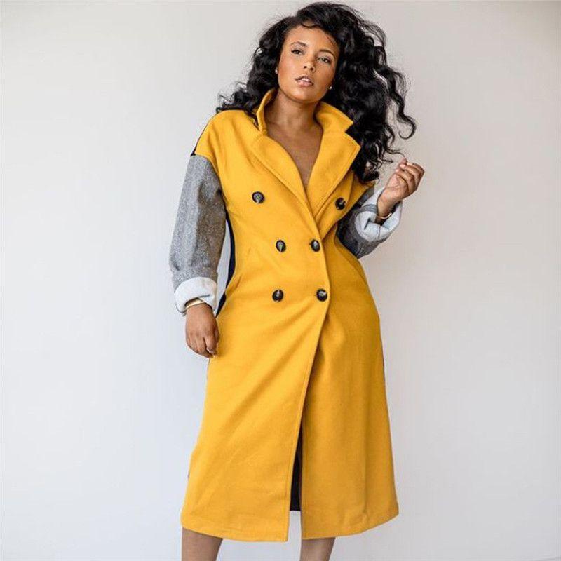 Çift Breasted ile Kış Bayan Tasarımcı Kasetli Karışımları Casual Bayan Yaka Boyun Dış Giyim Moda Bayan Uzun Ceket