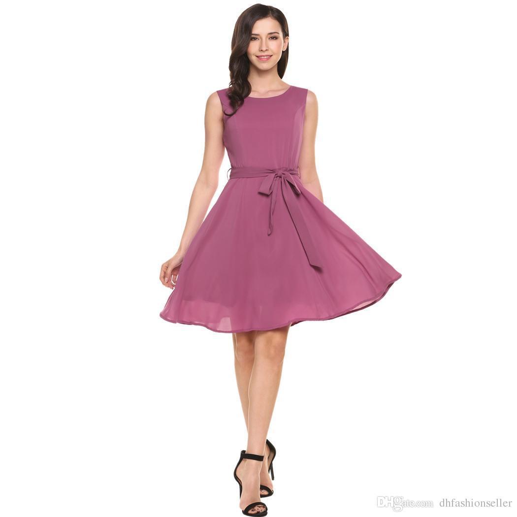 e5dc06bc8 ... AL OFA las mujeres cóctel elegante vestido de verano sin mangas sólido  cinturón fiesta de ...