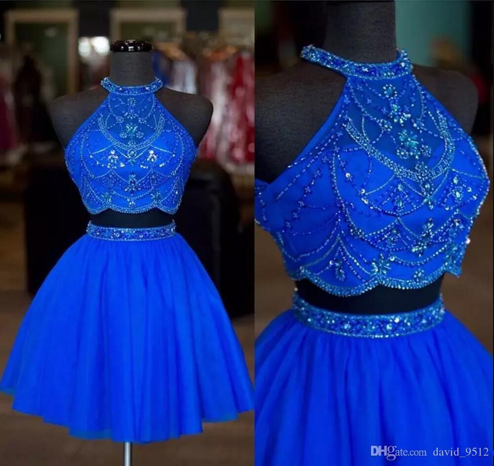 Moldeado azul Cristales cabestro Dos Piezas Vestidos de Fiesta diamantes de imitación formal cremallera hasta vestidos del partido Una línea Mini vestidos de coctel cortos B165