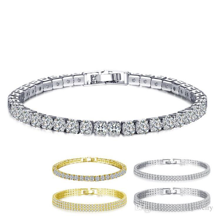18K White/Yellow Gold Plated Sparkling Cubic Zircon CZ Cluster Tennis Bracelet Fashion Womens Jewelry for Party Wedding