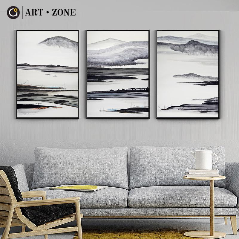 ART ZONE Landscape Painting Modern Image Ink Painting Wall Home Decor Art Poster Picture Black White Landscape