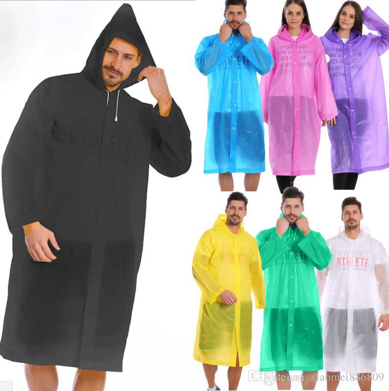 Мода Женщины Мужчины Clear Прозрачный дождевик Подиум Стиль Rain Coat Jacket Новый
