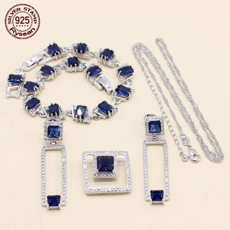925 Sterling Silver Jewelry Set Femmes Bracelet Collier Pendentif Boucles D'oreilles Carré Bleu Foncé Semi-précieux Cadeau De Noël