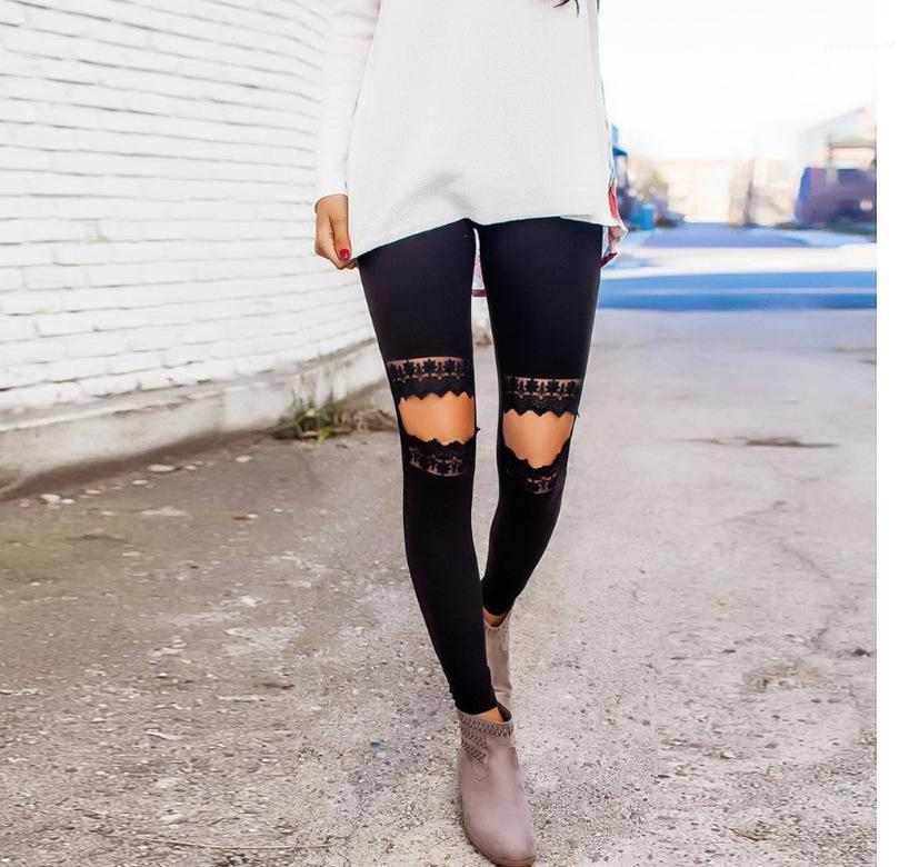 Yoga Pants Sexy Hot Sell Slim Outdoor Indoor Leggings Pants New Fashion Yoga Capris Lace Patchwork Womens