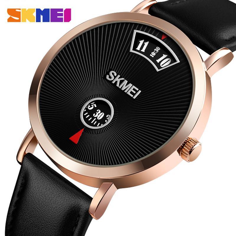 SKMEI Simples Men Quartz Relógio de pulso Moda Estilo Negócios 3bar impermeável aço inoxidável / couro relogio masculino 1489