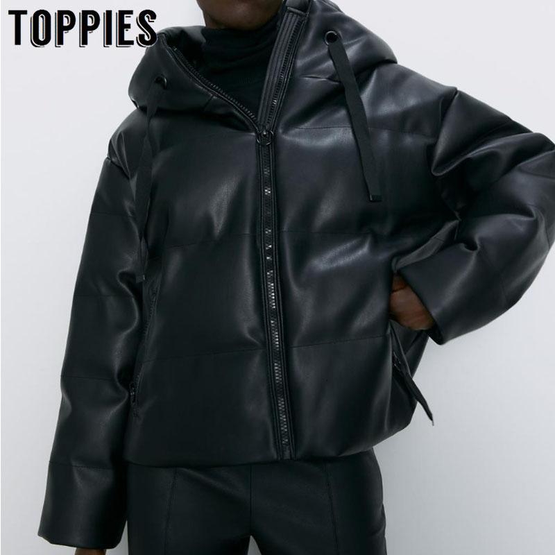 La capa de cuero de imitación de invierno chaqueta con capucha de algodón de las mujeres acolchado grueso de la cremallera Parkas pan caliente Abrigo Europea 2019 V191205
