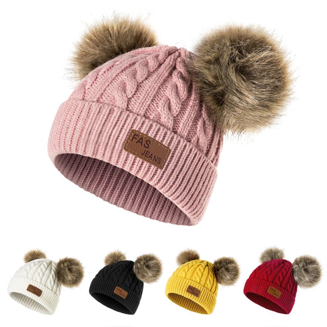 URDIAMOND Chapeau D'hiver Pour Filles Bébé Garçons Pom Poms Chapeau Enfants Tricot Bonnets épais Bébé Infant Toddler Chapeau Chaud