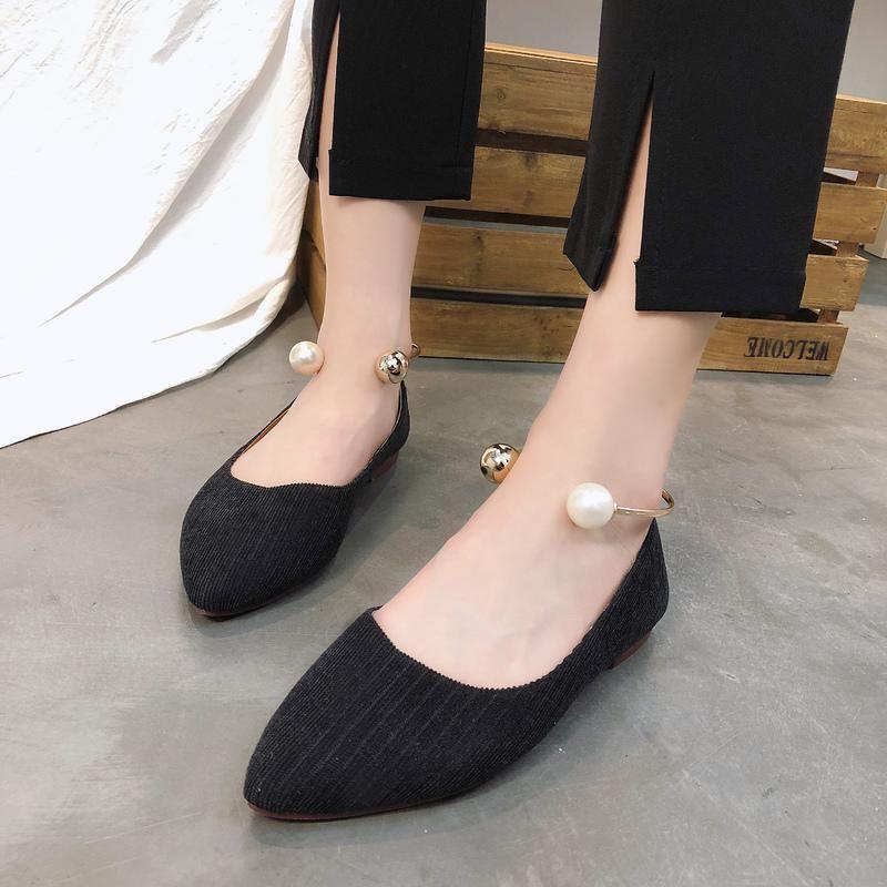 planas de los zapatos de la boca baja de 2020 nuevos solos zapatos perezosos femenina las mujeres inferiores suaves en punta silvestres de primavera para caminar W38-57