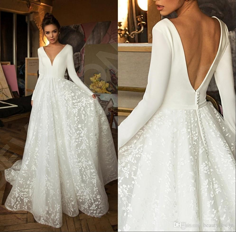 Boho Modern Long Sleeve Princess Wedding Dresses V Neck Covered Button Backless Lace Train Bridal Gown Vestido de Novia