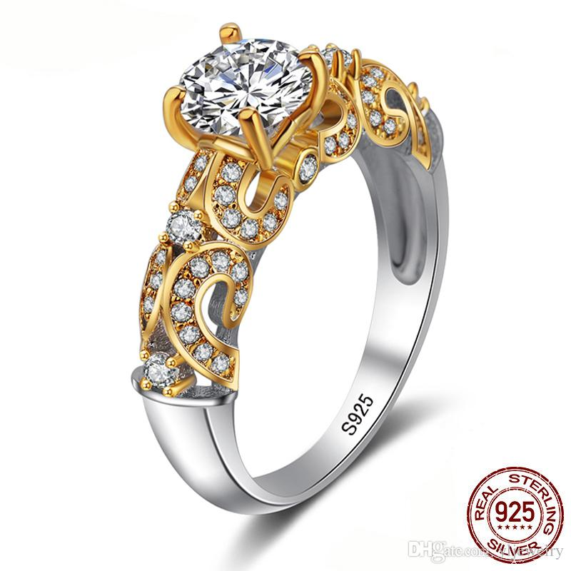 Fine Jewelry Original 100% Solid 925 Silver Ring Gold Color Sona CZ Diamond Engagement Wedding Rings for Women XR243