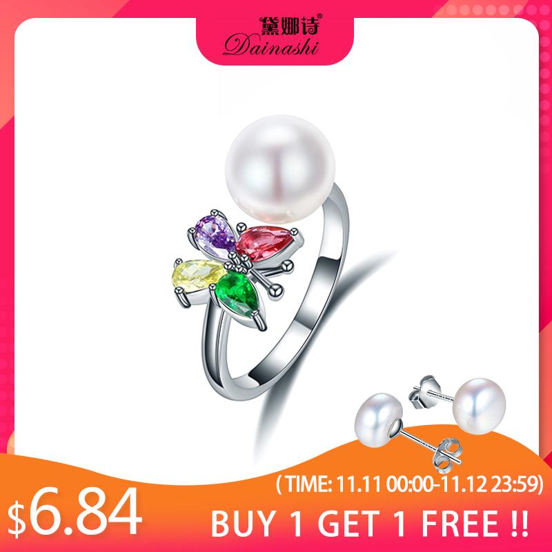 Dainashi argent 925 papillon coloré Zircon Anneau pour les femmes élégantes d'eau douce de perles de culture Bague réglable cadeau