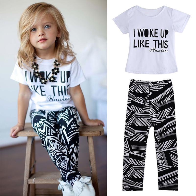 Горячие Девочки нашивки я просыпался Like This малышей рубашки и брюки Комплекты Комплект детской одежды снаряжение 2pcs