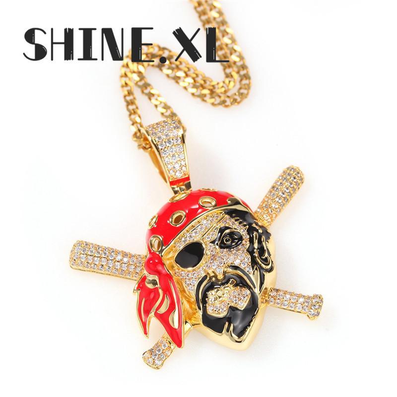 Luxuxentwurf Piraten-Schädel-Halsketten-Anhänger Gold-Silber überzogene gefrorene heraus Zircon-Männer Hip Hop Schmuck Geschenk