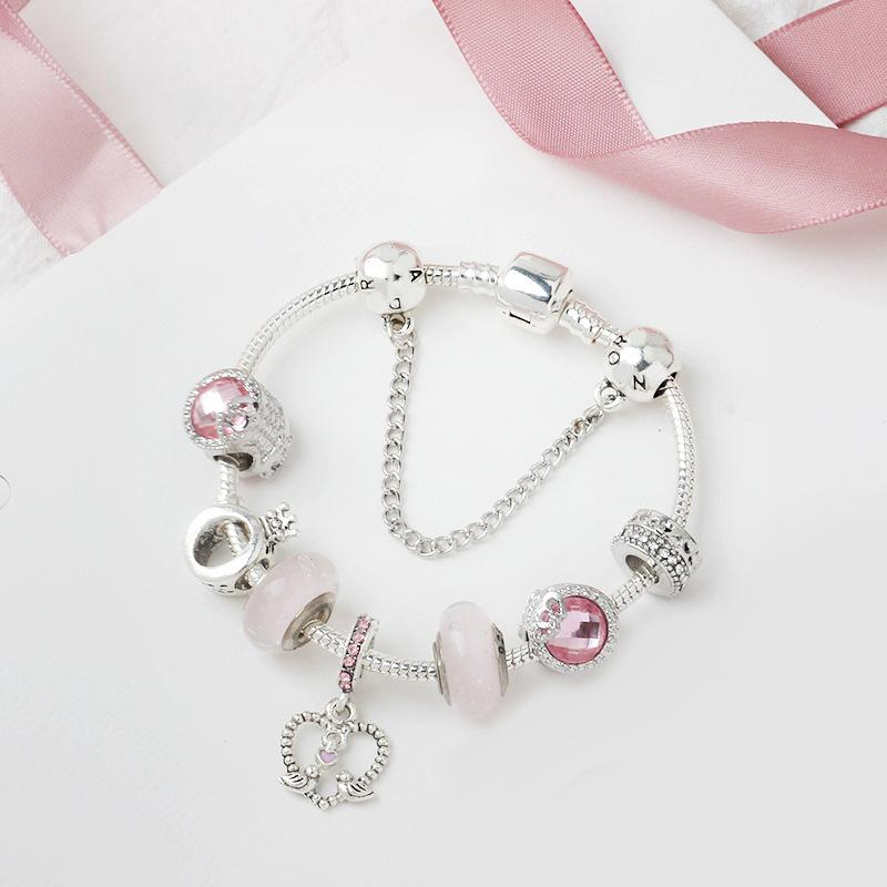-Europeu Atacado charme talão de liga prateado pulseira Adequado para contas estilo Pandora O carta coroa pulseira