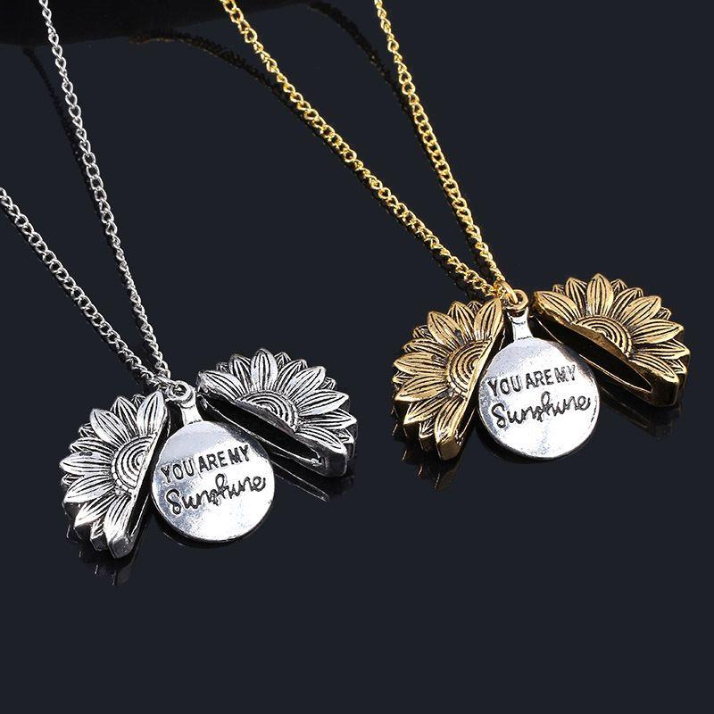 2020 Rose Gold Silver Custom Sunflower Necklace Sunshine Open Locket Sunflower Collar Ladys Girls Friends Jewelry Gifts