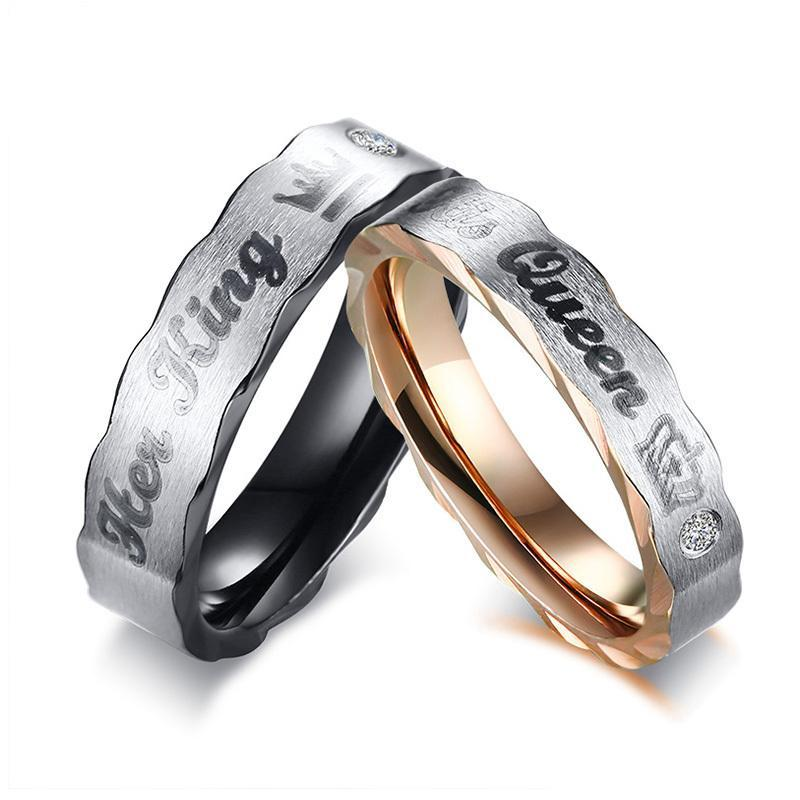 Crown His Queen Her King Wedding Rings For Women Men Stainless Steel Cz Stone Couple Band Lovers Elegant Jewelry Gift Vintage Wedding Rings Gold