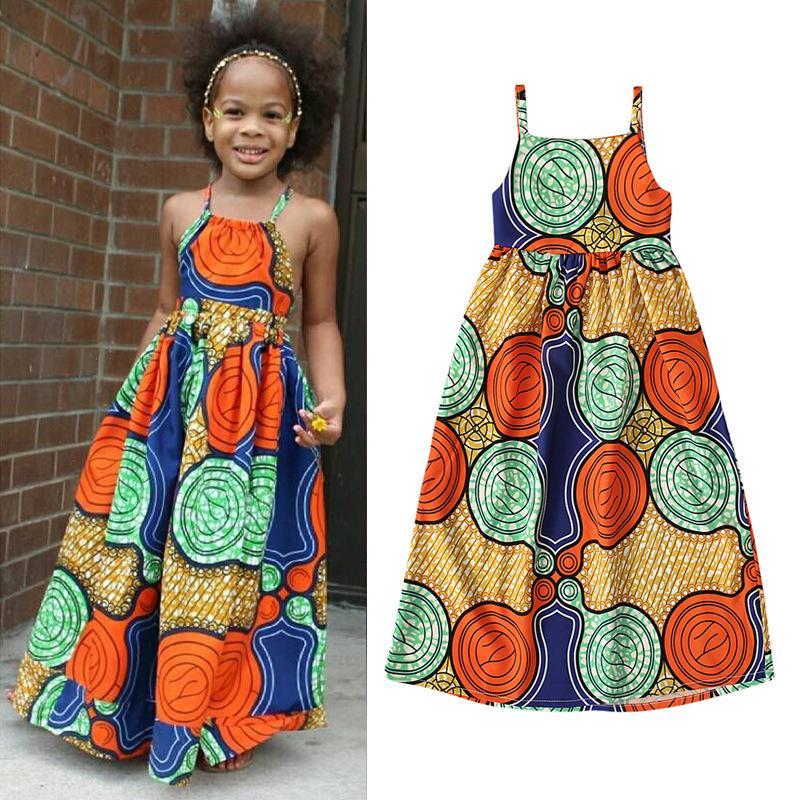 los niños muchachas de la ropa africana vestido de la impresión del estilo boho los niños sin mangas de la honda de la princesa vestidos de 2020 ClothingZ0877 bebé de moda de verano