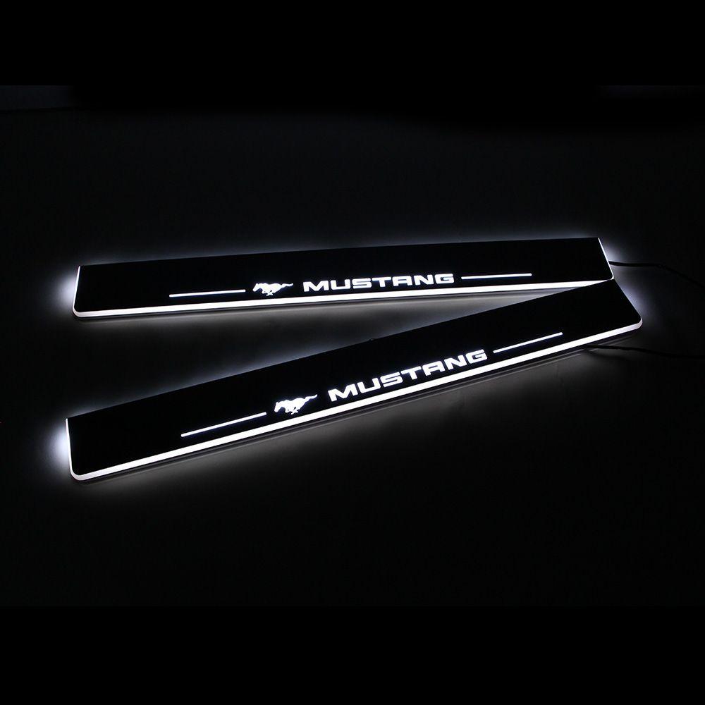 Для Ford Door Pedal 2016 2017 SCUFF 2019 Moving Pedal Sill Plate A Car 2018 Light 2015 Mustang Добро пожаловать Pathway LED HGQBI