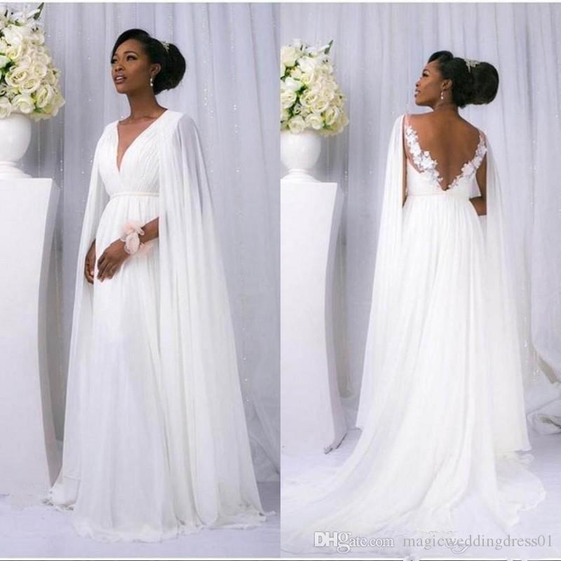 2019 Neue Flowey Brautkleider mit Cape voller Spitze Chiffon V-Ausschnitt Göttin Griechischen Braut Seaside Sommer Ferien Hochzeitskleid