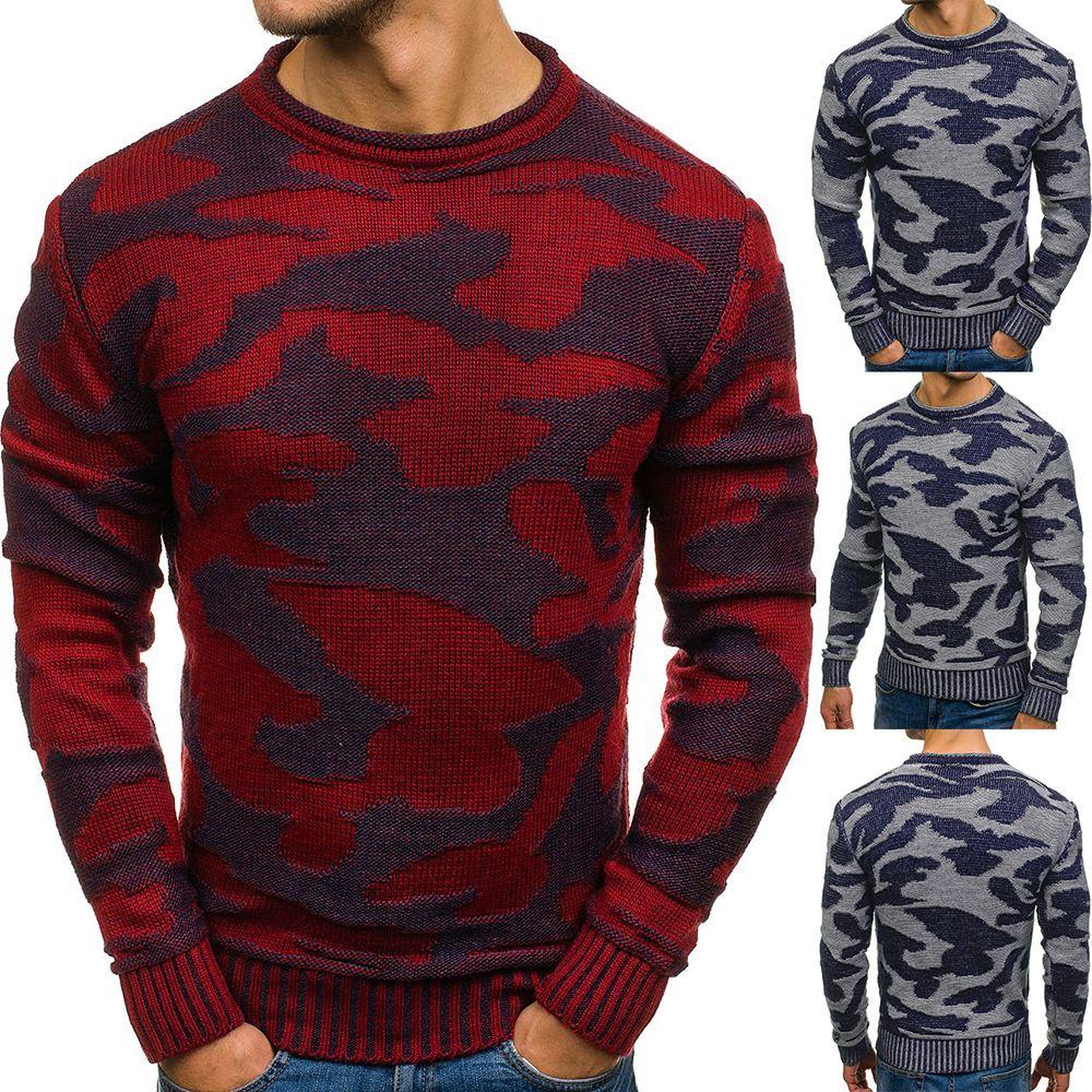 Осень Зима Mens Камуфляж рубашка круглой шея пуловер свитер цвет блочный Сыпучая-Fit Рождество свитер основывая Рубашка мужская толстовка Printed