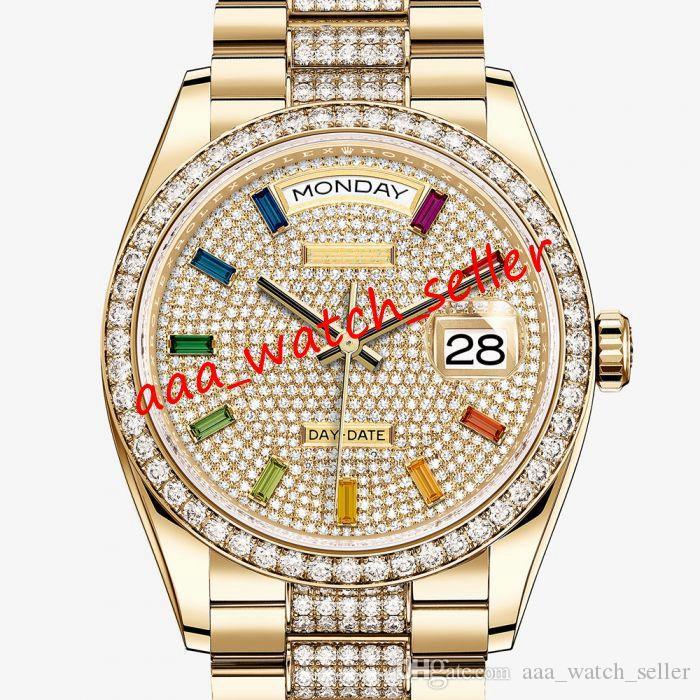 3 색 고급 남성 시계 마스터 데이 데이트 기계 자동 대통령 팔찌 베젤 128349 M128349 126333 다이아몬드 시계를 아이스