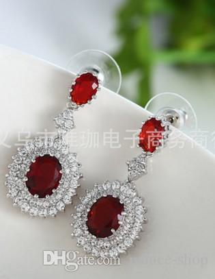 2pairs / много оптовой низкая цена высокого качества алмазы падают 925 серебряных леди серьги до рынка подарка бесплатно shippjng (32,3 * 15.5mm) 19.5rr