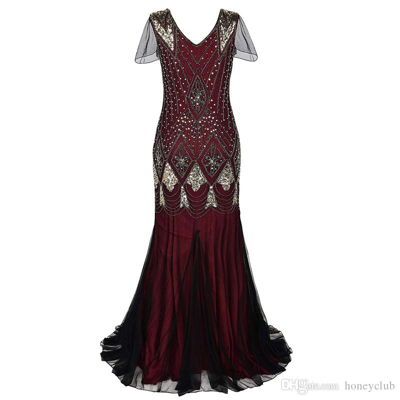 vintage Mermaid retro sequins fringed bead dress bridal tuxedo tassel sequins tulle lace long prom party cocktail dress