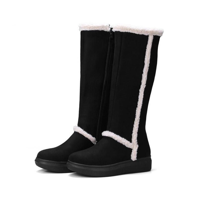 2019 Warm Shoes Women Fashion Brand Mad Calf Snow Boots Winter Lady chaussure Female Patchwork footware Flock Black with Fur