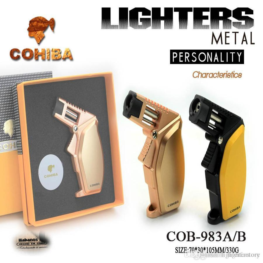 New Arrival COHIBA Multifunctional Flame Lighter 1Torch Windproof Refillable Butane Gas Cigar jet Lighter With Gift Box