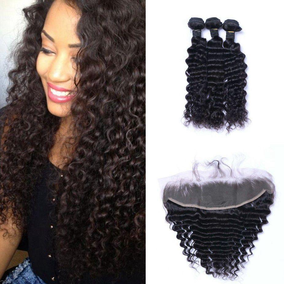 Deep Wave Hair Bundles with Frontal Closure Malaysian Hair Weave Bundles Non Remy Human Hair with Closure