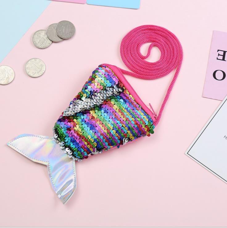 purse Key holder Gift for children Mini Shoulder Bag Sequin Mermaid Tail Zipper