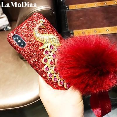 Cajas del teléfono móvil de lujo al por mayor Bling diamante pavo real para iphone x 6 6 s 6 plus 7 8 plus encantadora bola de la piel glitter pc estuche rígido