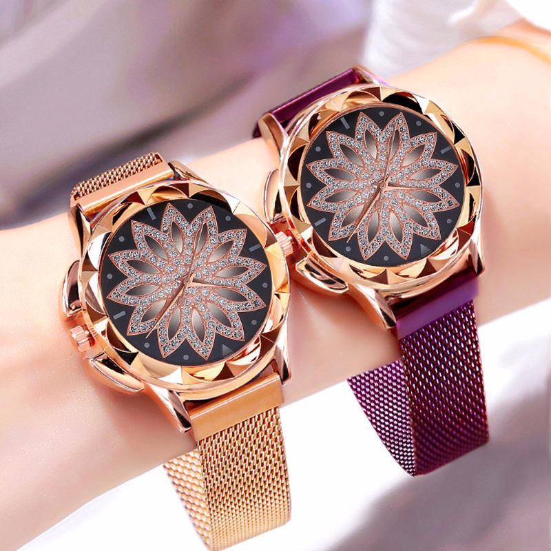 Femmes magnétique fleur de dames de montre Mesh ceinture montre-bracelet à quartz cadeau Horloge