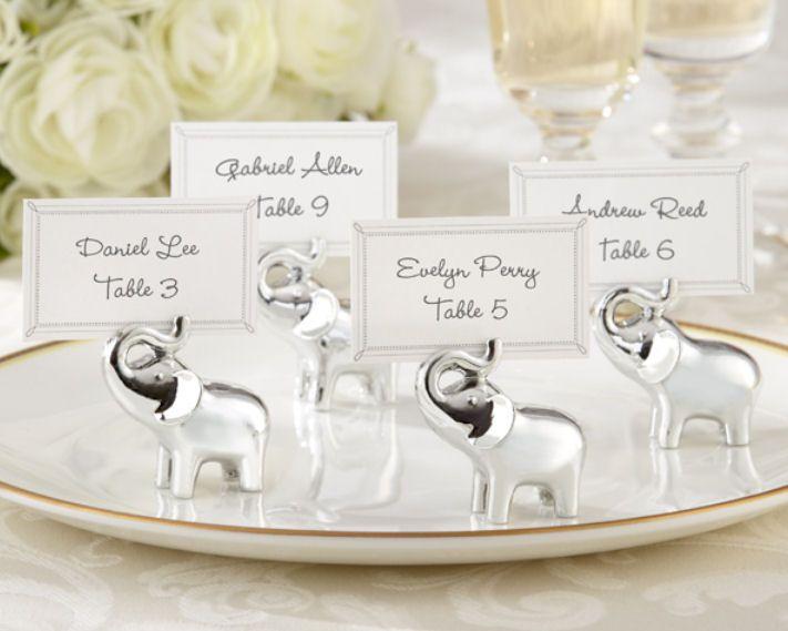 10PCS Fortunato in amore Holder Silver-Finish Elephant Segnaposto acquazzone di bambino favorisce accessori per la decorazione della tavola da festa di nozze