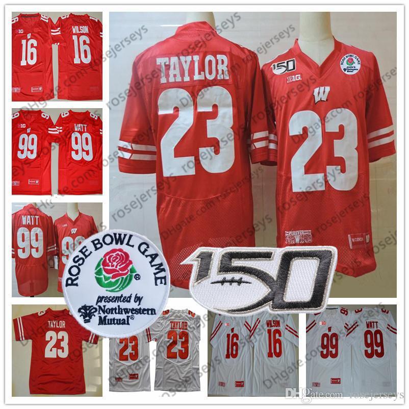 2020 Wisconsin Ncaa Football # 23 Jonathan Taylor 16 Russell Wilson 99 JJ Watt Watt rossa Bianco Ciotola NCAA 150th CFB Jersey