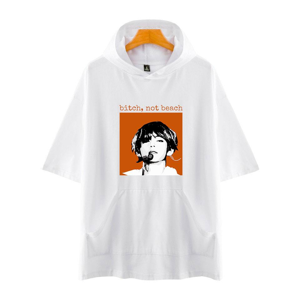 2018 bts Kpop 2018 BTS Love Yourself Print cotton Short Sleeve Hoodies Sweatshirts Harajuku Women/Men Hip Hop Clothes 4XL C18122901