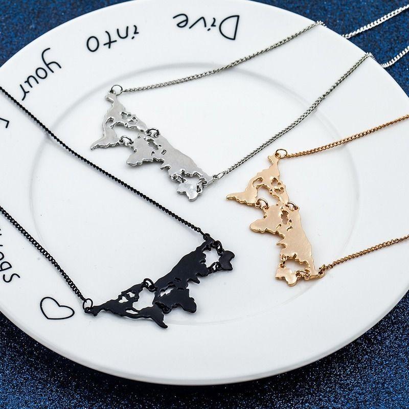 Geometric Colar Cadeia Mapa Colares Mulheres pendant Ladies meninas jóias de prata da cor na moda hipérbole liga de zinco Halskette