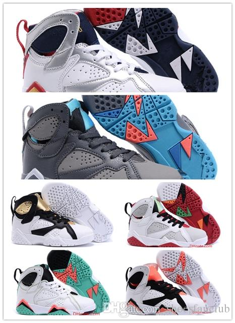 Cheap baby Kids 7 Basketball Shoes youth boy girl 7s VII Purple UNC Bordeaux Olympic Panton N7 Zapatos Trainer Children Sport Shoes Sneaker