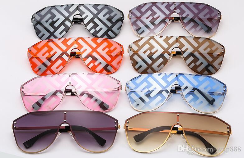 New Grande Frame Conjoined Óculos De Sol F Watermark Cartas Das Mulheres Dos Homens Óculos De Sol Da Moda Plana Top One-piece Sun Glasses Óculos