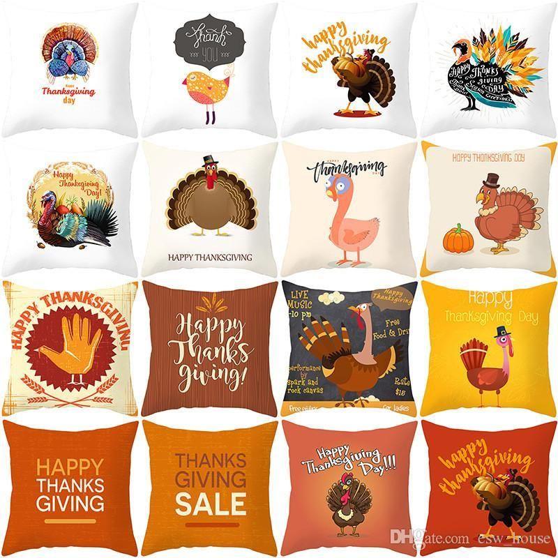 Thanksgiving Pillowcase Peach Skin Turkey Cushion Cover Happy Thanksgiving Day Sofa Throw Pillow Case Home Car Cushion Covers