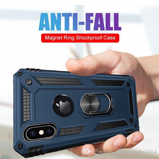 Luxo imã de metal case on para o iphone 6 6 s 7 8 plus armadura à prova de choque case capa para iphone xr xs max x silicone bumper case
