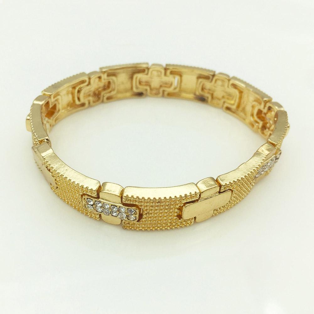 Couleur Or Métal Croix Bracelet extensible Bracelet et Punk alliage cristal Bracelet élastique Parti cadeau bijoux à la mode pour les femmes