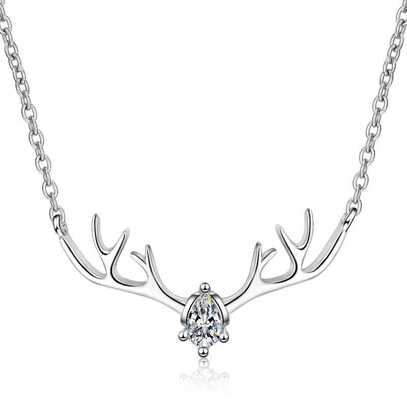 Nouveau collier pendentif 925Silver avec zircons bois 45cm forme de cadeau d'anniversaire pour amant gratuit haut de gamme boîte de bijoux LED