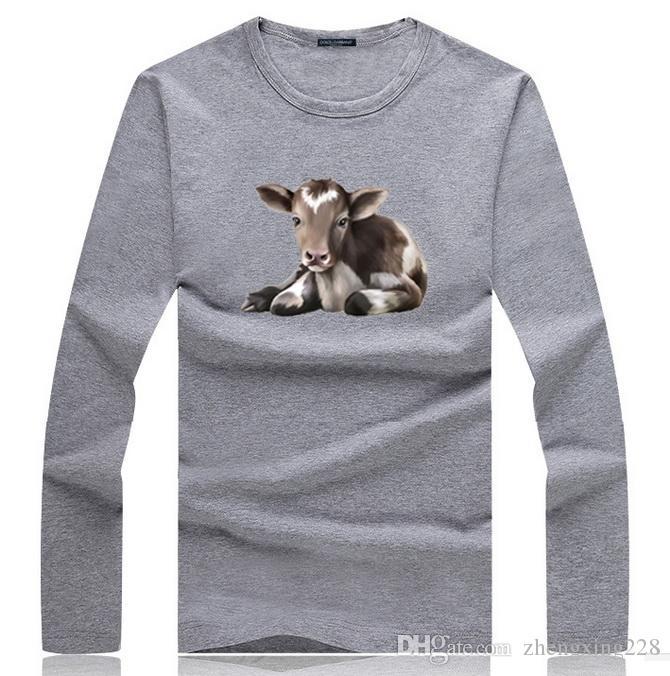 Nouveau été hommes coton à haute teneur en coton imprimé animal T-shirt à manches longues T-shirt à manches courtes étudiants junior chemise à col rond T-shirt de sport