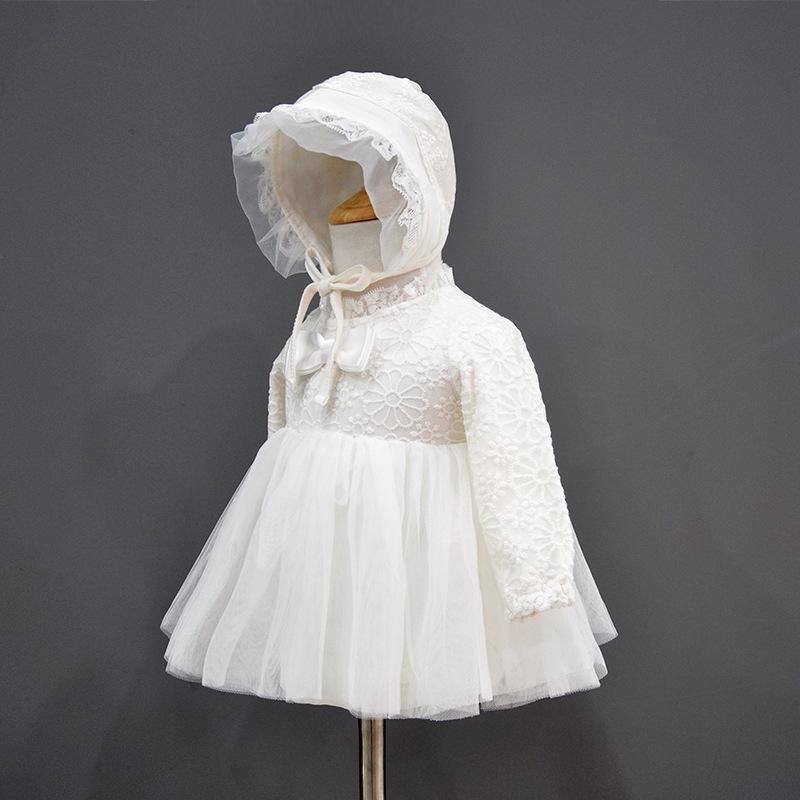 0-12 Months Spring and Autumn New Baby Clothing, Baby Girl Lace Princess Dress, One-piece Skirt, Lace Skirt Send Same Hat