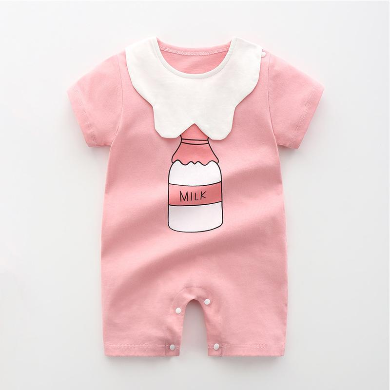 Bebê algodão de manga curta Romper Verão Fina Boy Feminino recém-nascido do bebê roupa do verão Romper Pijama